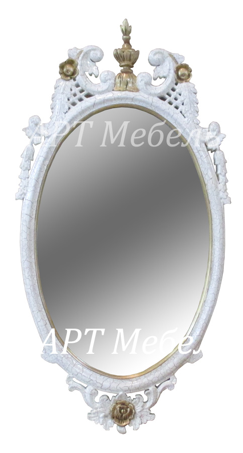 Зеркало резное CROWN OVAL  из красного дерева