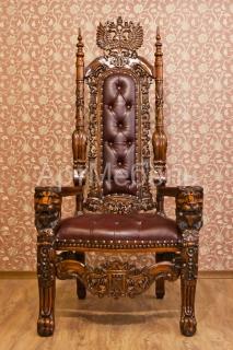 Резное кресло трон LION