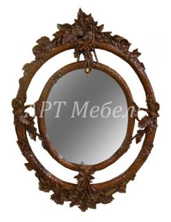 Зеркало резное OVAL LEAF из массива ручная работа